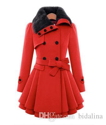 señoras mujer lana mezcla abrigos cruzados casual invierno otoño cálido elegante una línea de manga larga abrigos largos femeninos