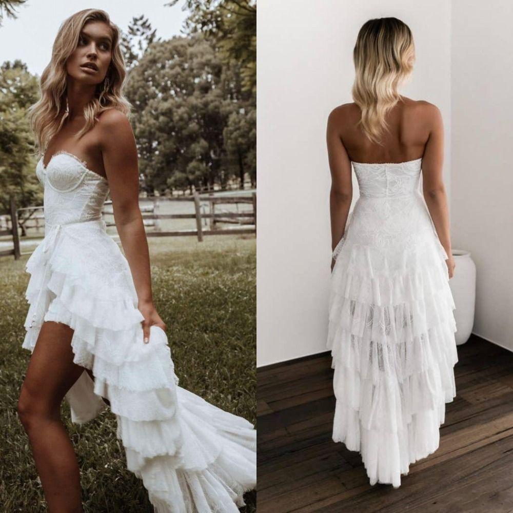 새로운 도착 하이 - 로우 비치 웨딩 드레스 연인 등이없는 짧은 신부 드레스 2020 웨딩 드레스 Vestido 드 noiva