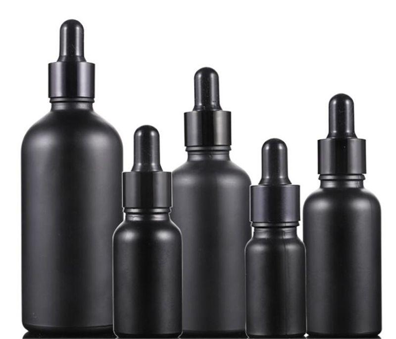 الجملة 30 مل 50 مل 100ML متجمد الأسود زجاجة بالقطارة خلت زجاجات الزيت العطري مع غطاء أسود للتغليف مستحضرات التجميل