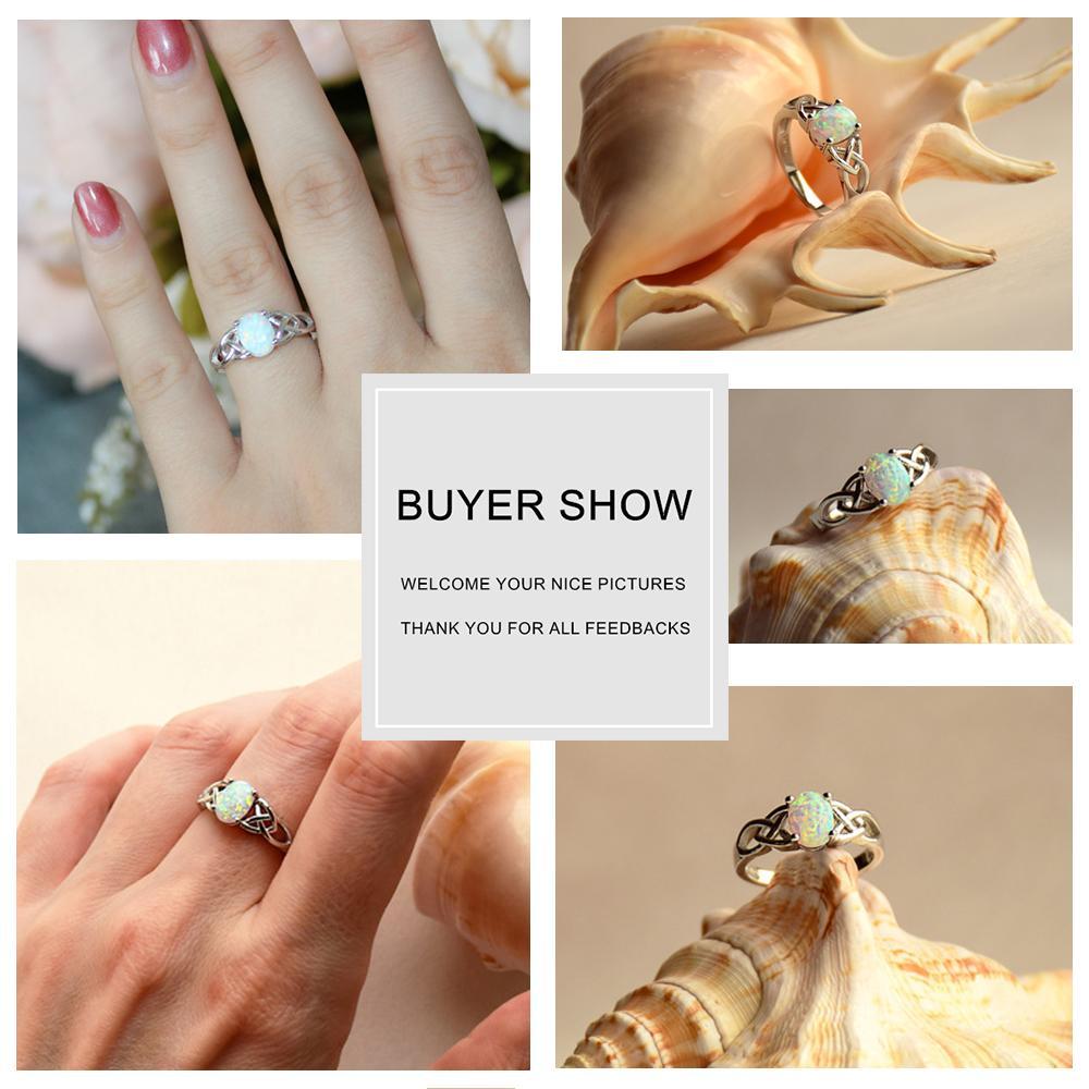 Elegante 925 Sterling Silver Ring trançado com Oval Rosa Branco Azul Opala de casamento anéis de noivado para as Mulheres (Lam Fong Hub)