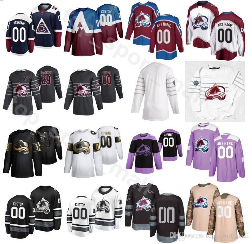 2020 Avalanche du Colorado Fights Cancer 28 Ian Cole Jersey Hommes Hockey sur glace 83 Matt Nieto Matt Nieto 13 Valeri Nitchouchkine 27 Ryan Graves
