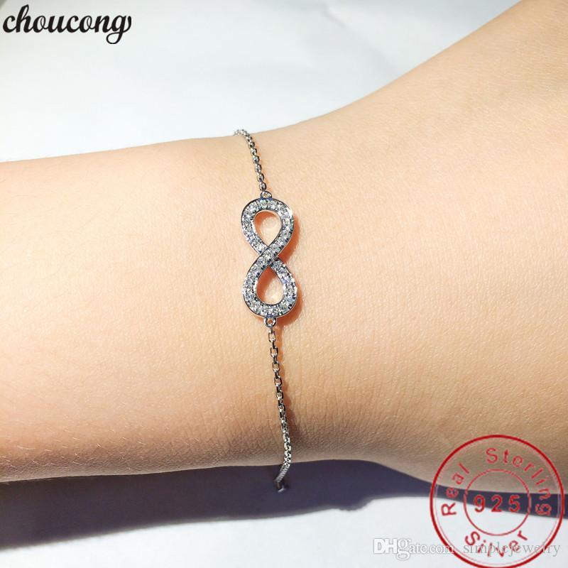 Choucong Elegante über Armband Real 925 Sterling Silber Pave 5a CZ Party Hochzeit Armbänder für Frauen Bridal Feine Jewerly