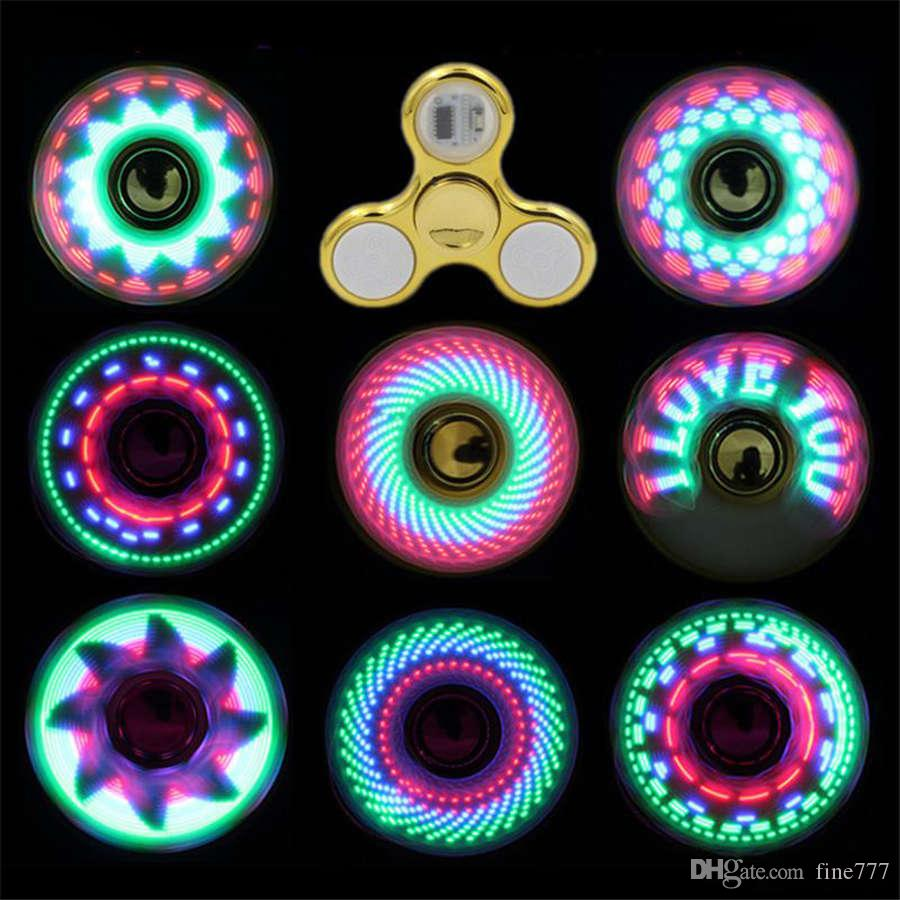 Cool coolest led light changing fidget spinners toy kids toys auto change pattern 18 styles with rainbow light up hand spinner