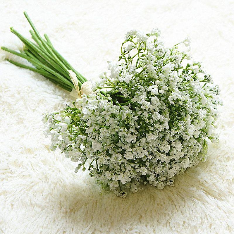 16pcs / conjunto bebês respiração flores artificiais falsificadas gypsophila diy bouquets florais arranjo casamento casa jardim decoração
