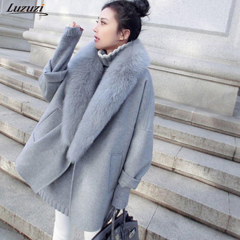 نساء الصوفية معطف الفراء فو الياقة كبيرة الحجم الصوف الدافئة معطف فضفاض سميكة سترة طويلة الملابس والأزياء