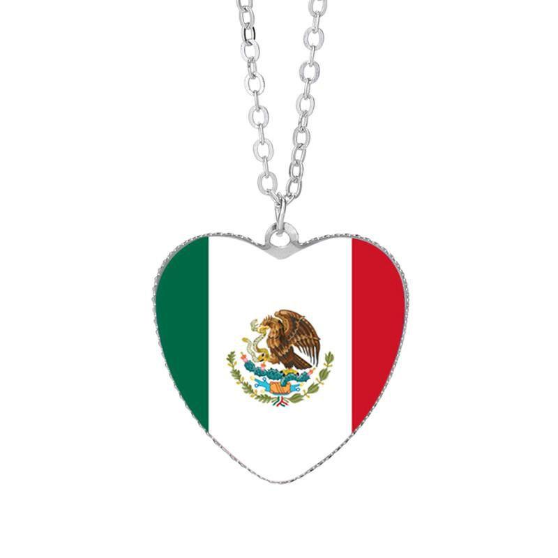 Mexiko Peru Chile Guyana-Flaggen-Anhänger-Halskette 25mm Herz-geformtes Glas Convex Schmuck Souvenirs Lady Strickjacke-Kette