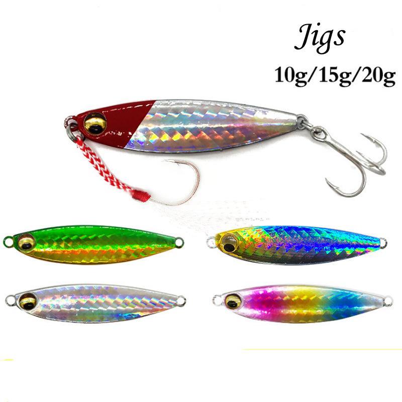10g/15g/20g Bionic Metal Jigs Fishing Lures Single Hook and Treble Hook Jigging Hard Fishing Baits Laser Lead Fish Lure Spinnerbaits