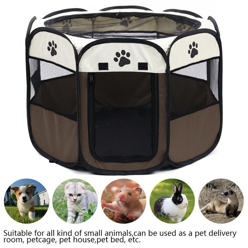 Portable Folding Pet Carrier Tent Dog House Playpen Multi-functionable Cage Dog Easy Operation Octagon Fence Breathable Cat Tent C19021301