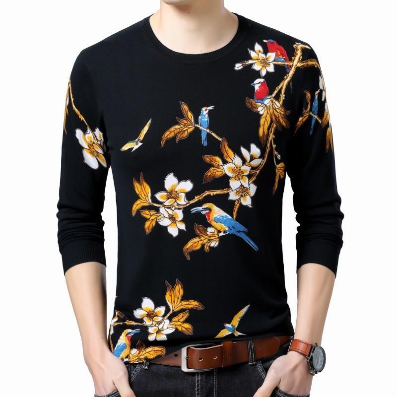 Fashion Pullover Erkek Kazak Gold Sueter Hombre Slim Fit Pull Homme Mens Flowers Printed Sweater Mens Chompas Hombre