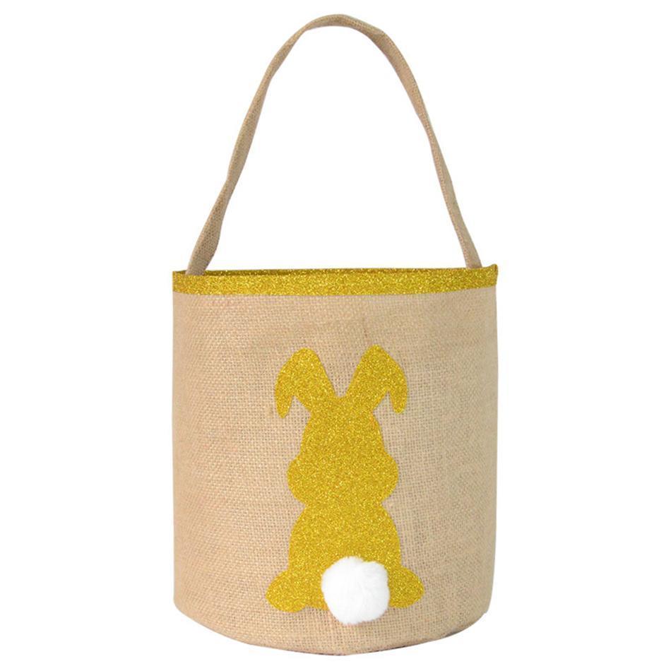 Пасхальные блестки Кролик корзина кроличьи уши сумка для хранения корзина милый подарочный пакет портативный положить пасхальные яйца круглое дно ведро LJJA3698-2