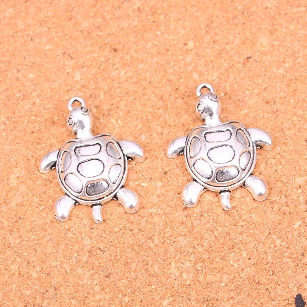 25pcs Anhänger schildkröie Meer Antike-Silber überzogene Anhänger, die DIY Handmade tibetischen Silberschmuck 34 * 26mm