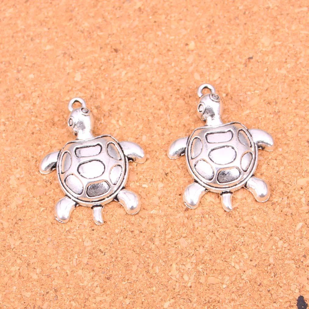 25pcs encantos de tortuga tortuga de mar plateado plata antigua fabricación de los colgantes de plata tibetana DIY hecho a mano joyería 34 * 26mm