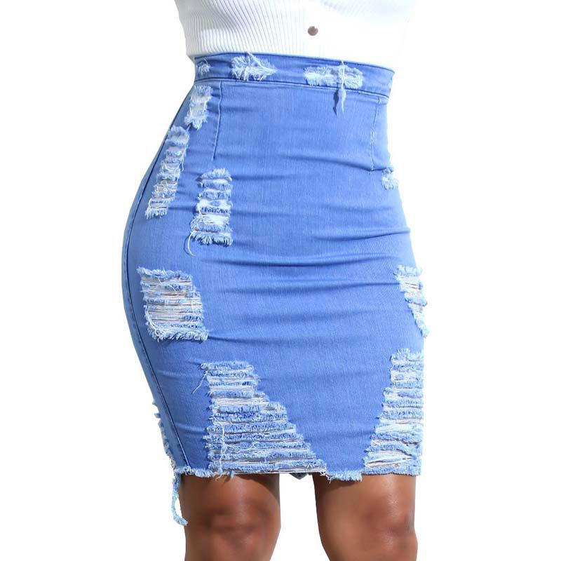 2020 Women Denim Skirt Ripped Holes Tassels High Elastic High waist jeans Knee Length Skirts A-line Casual Female Free Shipping
