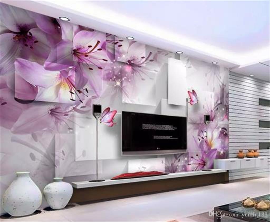 사용자 정의 3D 배경 화면 자주색 백합 투명 꽃 광장 거실 침실 배경 벽 장식 벽화 벽지