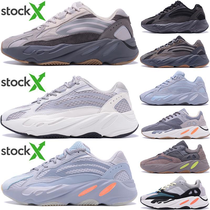 Top qualità 700 Kanye West Teal Blu Magnet Solid Scarpe Grey Desiger Ospedale Blu inerzia V2 Statico donne degli uomini utilità nero corsa Sneaker