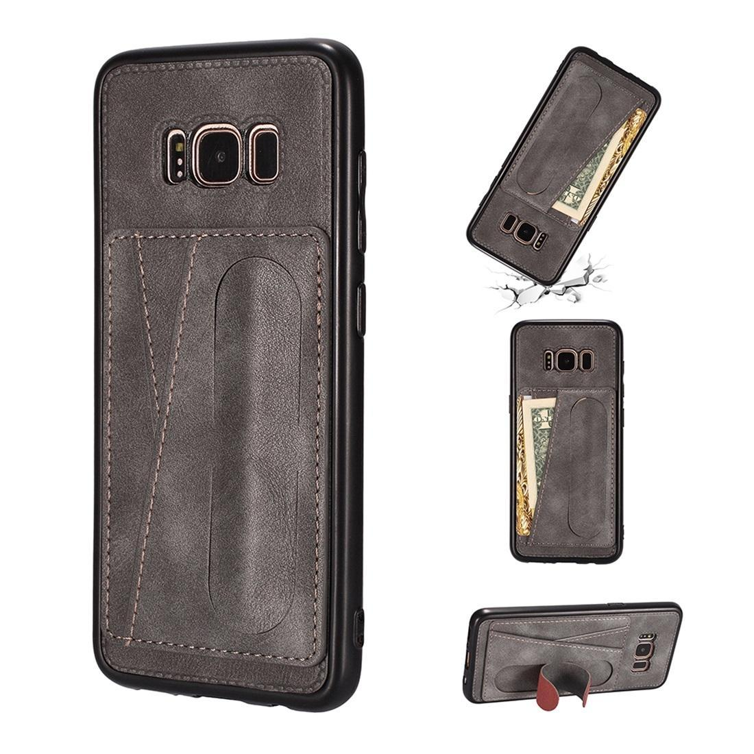 For Galaxy S8+ Shockproof PC + PU Protective Case with Spring Holder & Card Slot