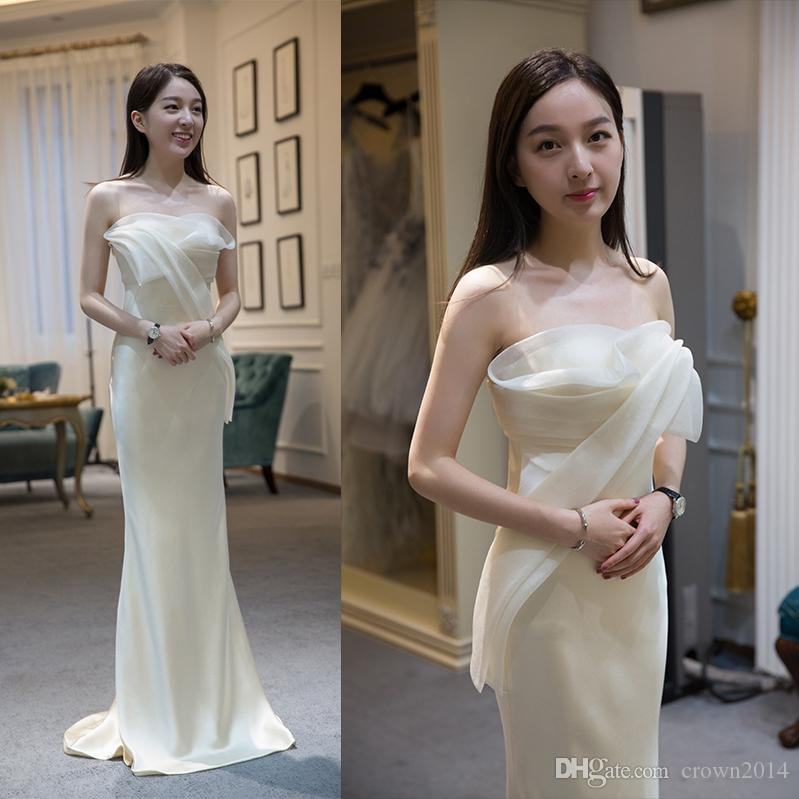 Elegant Mermaid Formal Evening Dresses 2020 Soft Silk Satin Backless Ruffle Celebrity Red Carpet Long Prom Gowns White Ivory Champagne