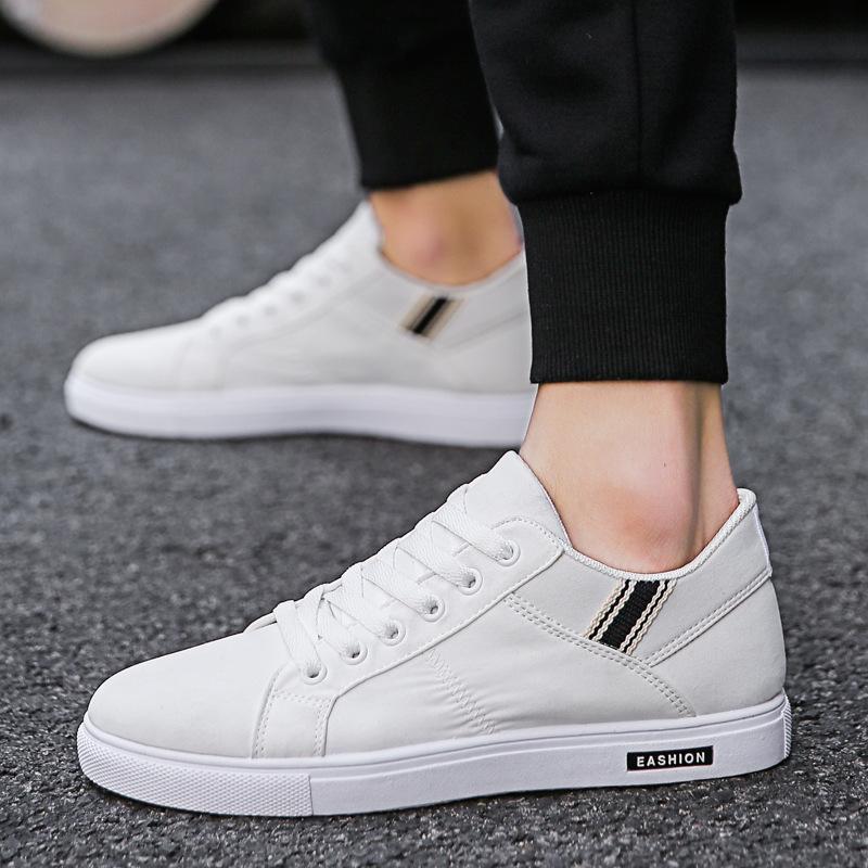 2019 nuevos zapatos de hombre, estudiantes, zapatos adultos, transpirable, resistente al desgaste, lienzo pequeño, blanco, casual, salvaje, al aire libre