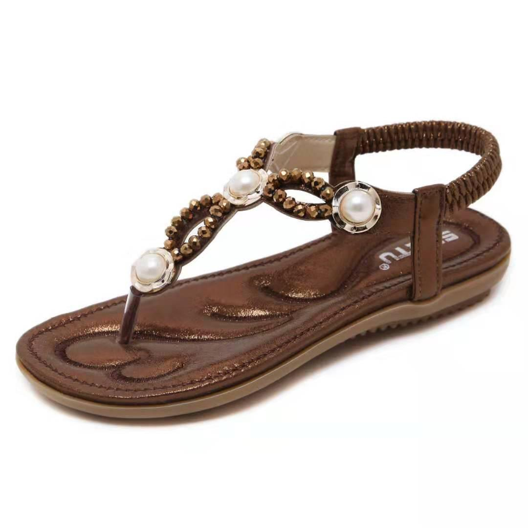 Hot Sale-Summer Sandals Women T-strap Flip Flops Thong Sandals Designer Elastic Band Ladies Gladiator Sandal Shoes