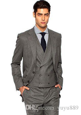 Costume Homme Light Grey Men Suit Slim Fit 3 Piece Skinny Groom Tuxedo Prom Suits Custom Terno Masculino Blazer Jacket+Pant+Vest