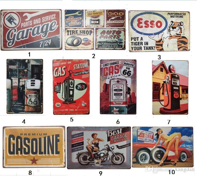Garagem gasolina gás Campeão Motor Retro Oil motel rústico do sinal da lata de metal Wall Decor Vintage Tin Poster Café Lojas Bar decoração de casa