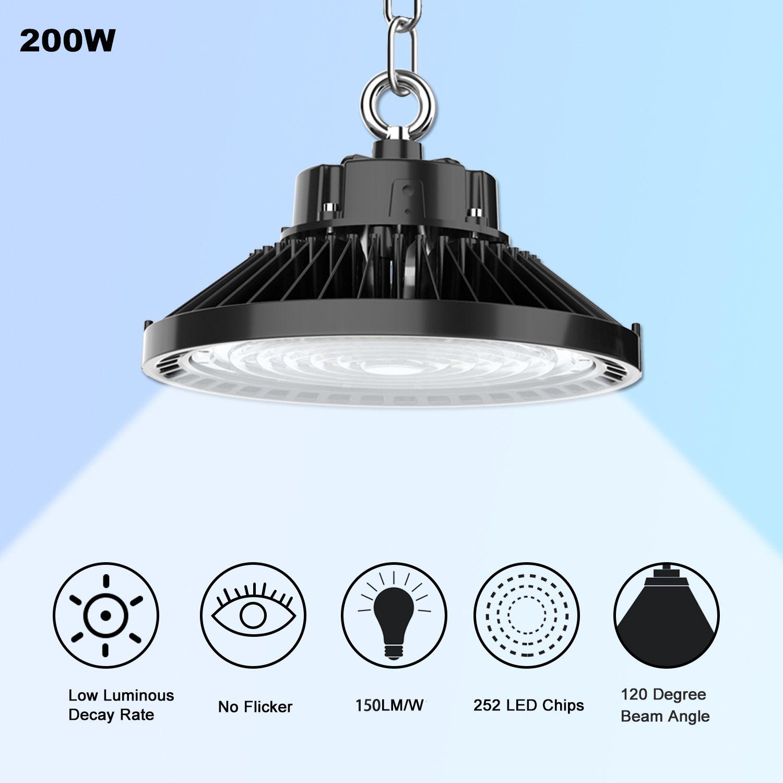 ETL DLC 5000K UFO LED High Bay Light 240W 200W 150W LED Магазин Светится Крытый Открытый свет завод станция Склад освещения