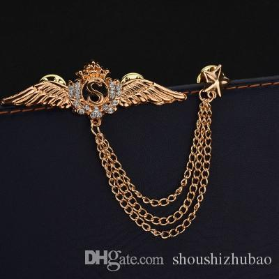 Real Shooting Luxurious Plated Gold Collar Brooches For Women Rhinestone Wings Latters S Tassel Chain Men Brooch b97