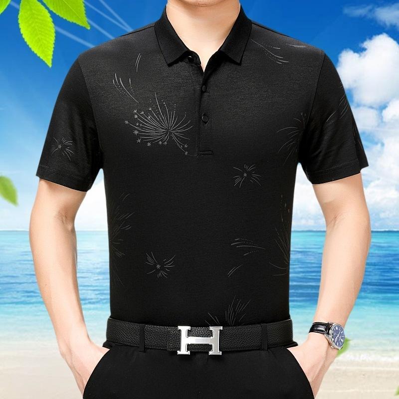 Мужская футболка лето 100% шелк белого T Мужчины Печать Крупногабаритного Tshirts черной Мужская мода Tee Shirt Homme 811/48/12 KJ1252
