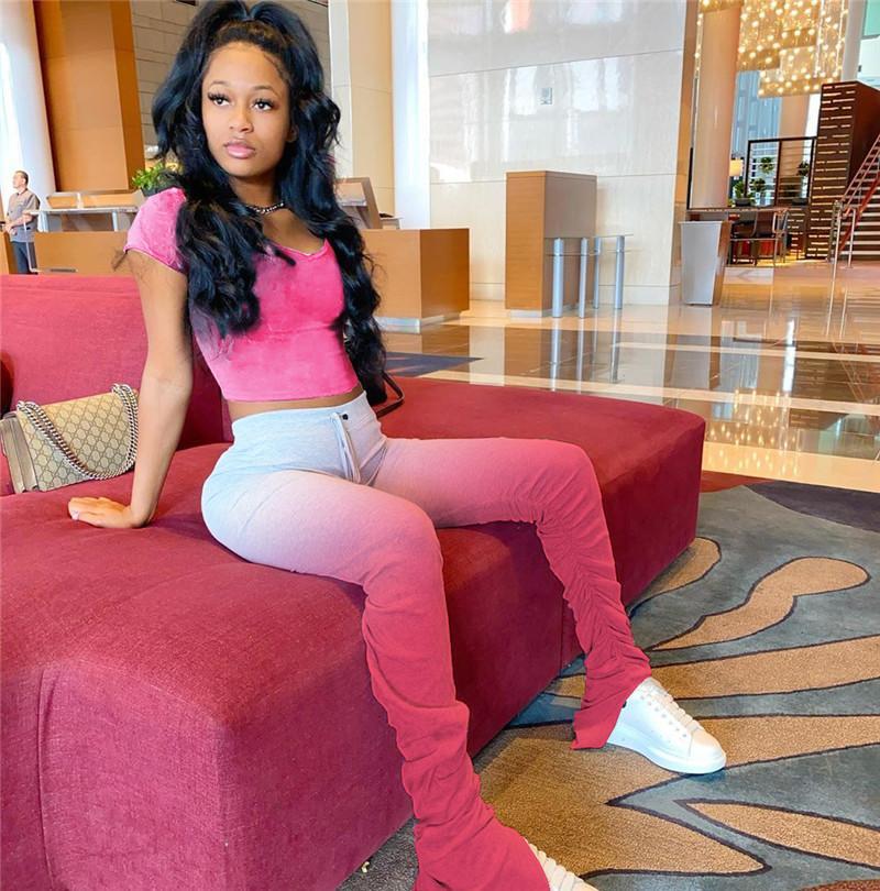 Kadınlar İçin Gradient Renk İki Adet Pantolon Moda Pileli Bölünmüş Mikro Flare Pantolon Suit Casual Yığın İki Parça Setler