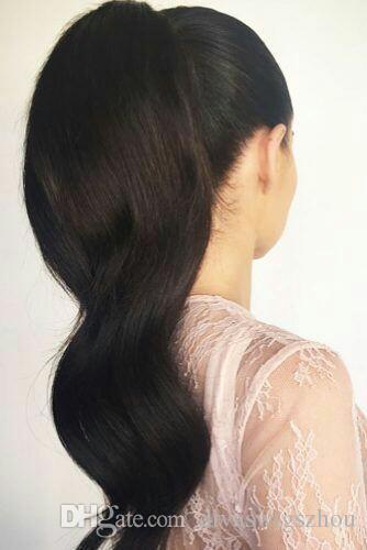 Divas Big ondulati Coda di cavallo al 100% capello umano con coulisse Coda di cavallo con le clip in per le donne di Remy del Virgin del brasiliano dei capelli 140g 1 Pezzo