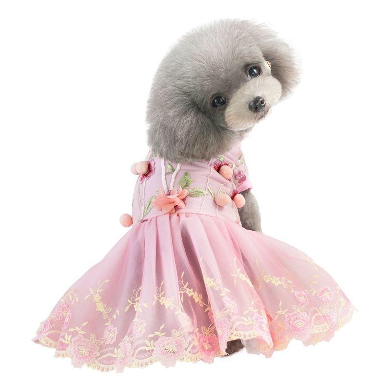 Vêtements pour chien printemps robe d'été avec le Parti de broderie Pup Robe roupa Cachorro pour les petites et moyennes Chiens Q1