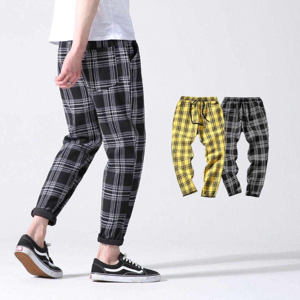 2019 Hombres Pantalones de Algodón A Cuadros Slim Fit primavera hombres Slim pantalones casuales largos Pantalones Harem Jogger masculino de los hombres de la moda