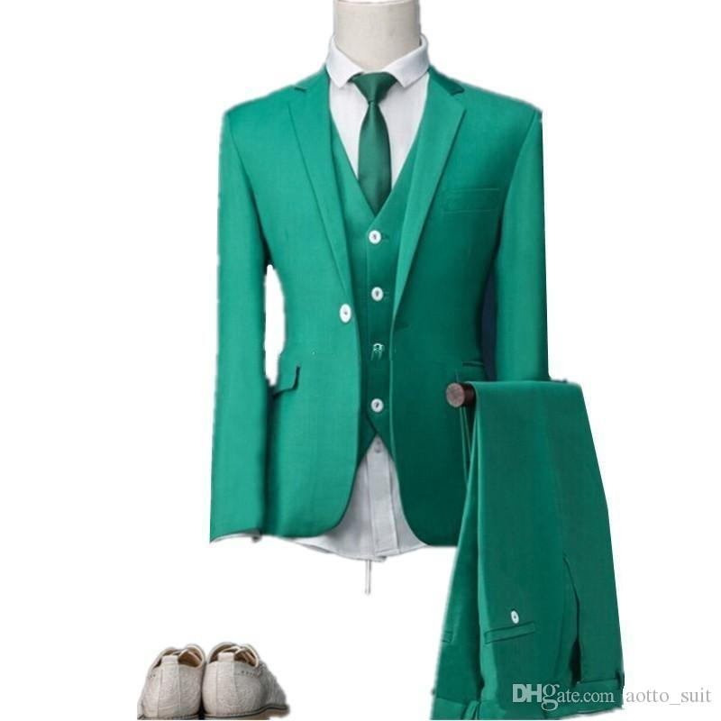 Slim Fit Green Groom Tuxedos Notch Lapel Mens Wedding Tuxedos Fashion Man Jacket Blazer Prom/Dinner 3 Piece Suit(Jacket+Pants+Vest+Tie) 292