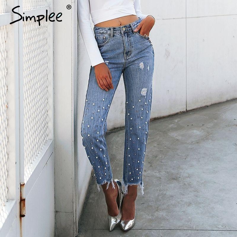 Simplee Perle Quasten Blau Hohe Taille Jeans Weibliche Streetwear Tasche Lässige Jeans Sommer Denim Hosen Frauen Bottom C19041001