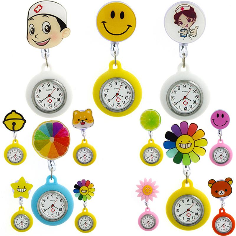 New Styles Women Girls Cartoon Adjustable Pocket Watches Wholesale Pin-on Brooch Watch 16 Styles for ChooseWAH283-#