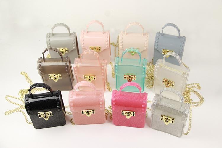 아기 소녀 젤리 가방 패션 키즈 캔디 컬러 공주 핸드백 패션 젤 아동 금속 버클 체인 단일 어깨 가방