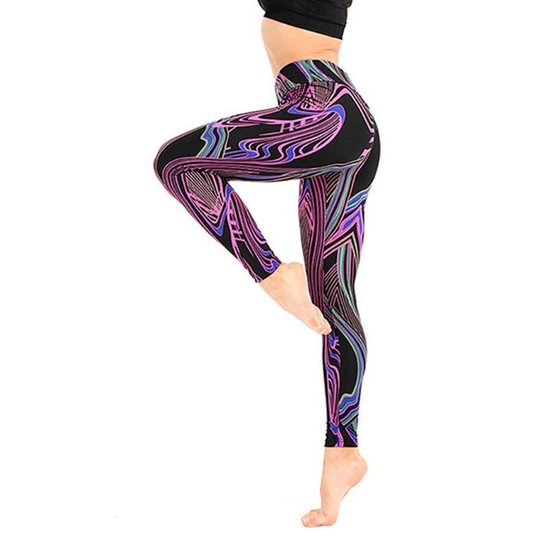 Ladies'Colorful Line Printing Exercise Fitness Running Body-Fitness Yoga Pants Leggings Slim Tights Trousers For Women Sexy Pink