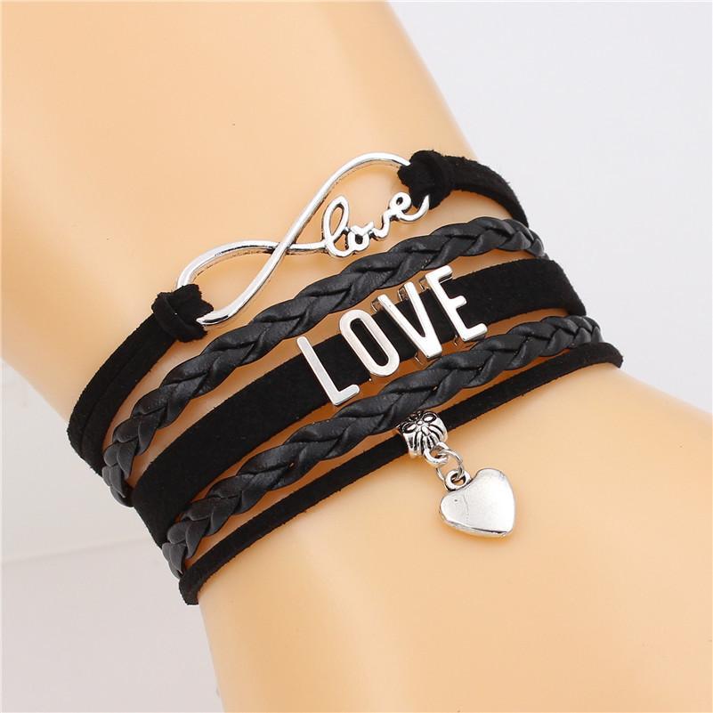 Love Letter Infinity-Armband Liebe Charm Mehrschichtige Armband Handgefertigte Lederarmbänder Punkschmucksachen für MenWomen Dropshipping