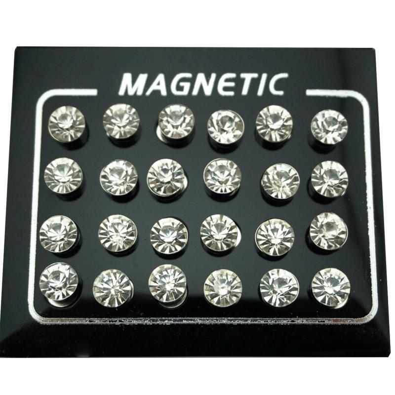 Regelin 12 Paar / Los 4/5/6/7 mm runde Kristallrhine Magnet Ohrstecker Puck Frauen Mens Magnetic Fälschungs-Ohr-Stecker-Schmuck