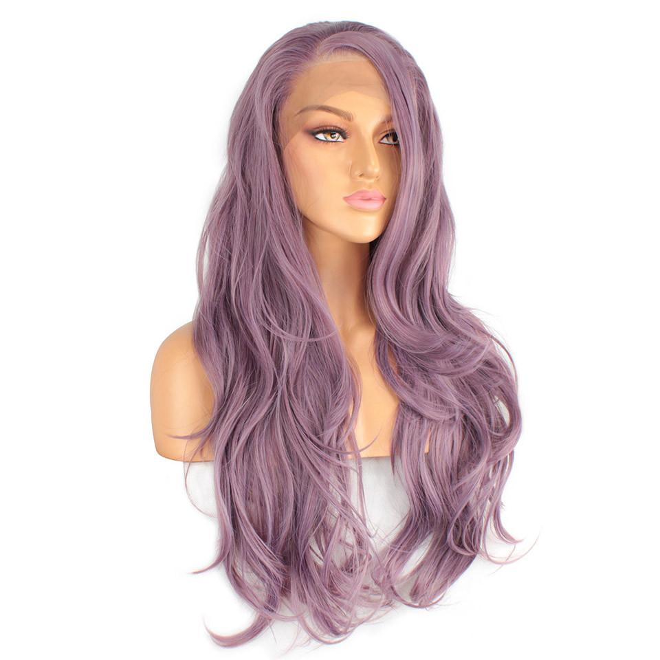 Xtrend Synthetic Lace Front Wig Long Pink Purple Orange Green White Wigs For Black Women Wave Hair Female Peruca Curly Copper