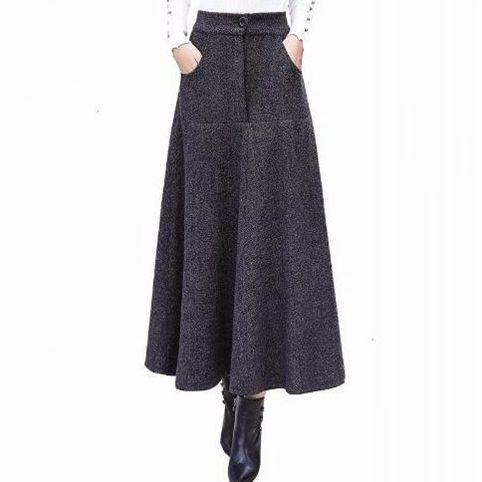 Vintage Striped Wool Skirts Women Autumn Winter faldas mujer moda 2019 High Waist Pleated Long Skirt Ladies Saia Longa EE694