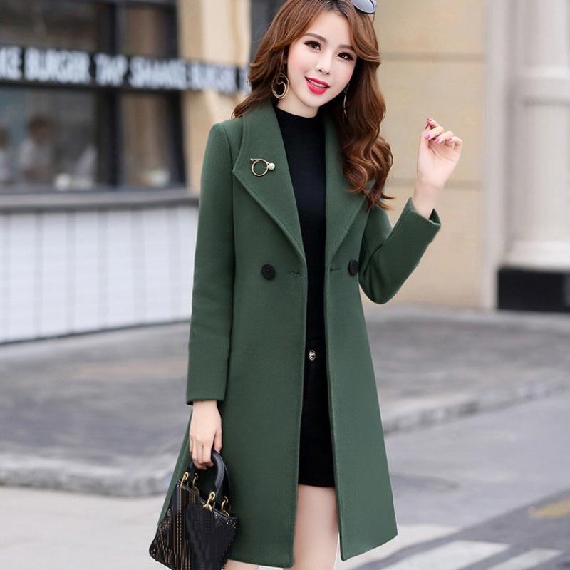 2019 Mid-comprimento de Inverno de Slim casaco de lã Mulheres Casual Jacket coreano de lã Moda trespassado Cardigan elegante Outwear Nova