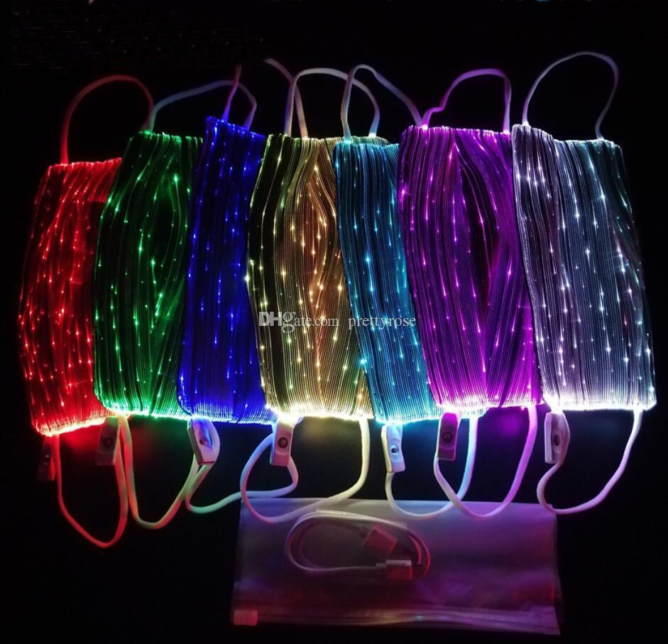 Pamuk toz geçirmez Ağız Yüz Maske Cadılar Bayramı Maskesi USB LED Işık Up Komik Maskeler Festivali Cosplay Kostüm Partisi Bisiklet yüz maskeleri Maske Malzemeleri