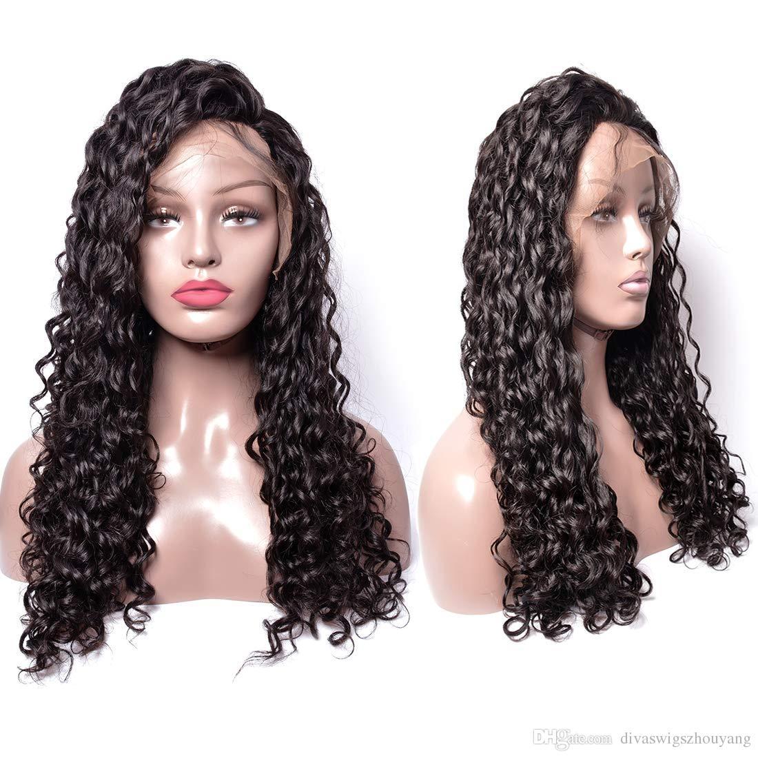 250% Densidad 360 Banda de encaje completa de cabello frontal peluca para mujeres Negro de la onda profunda de la Virgen rizada humano pelucas Pre arrancó