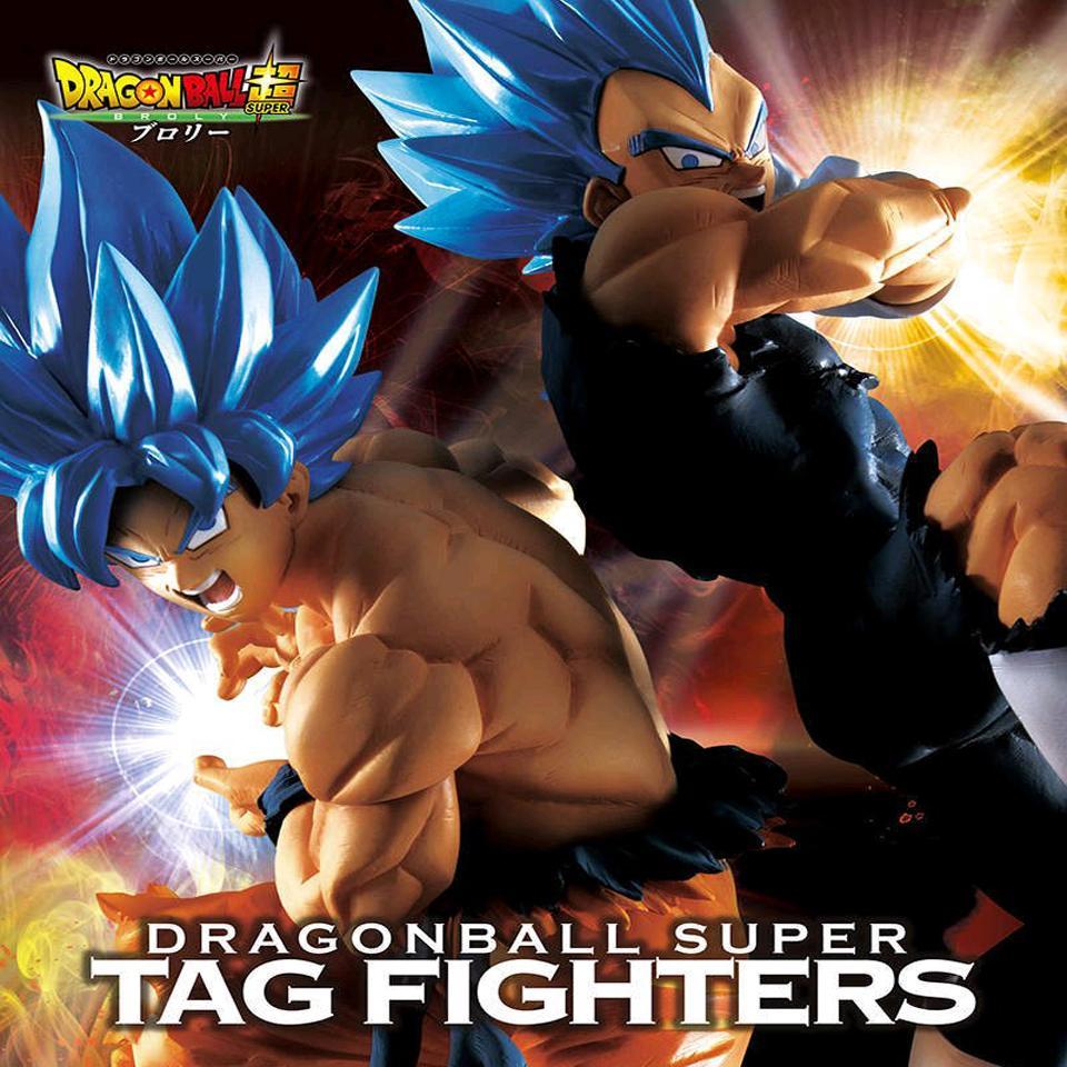 Tronzo Banpresto original de la película Dragon Ball Super Broly combatientes TAG Goku Vegeta SSJ pelo azul de PVC figura de acción de muñeca Modelo Juguetes Y200421