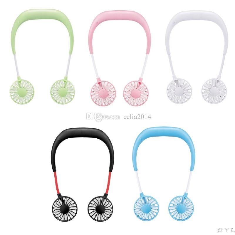 Beioust Hands-Free Neck Band Hands-Free Hanging USB Rechargeable Dual Fan Mini Air Cooler Summer Portable