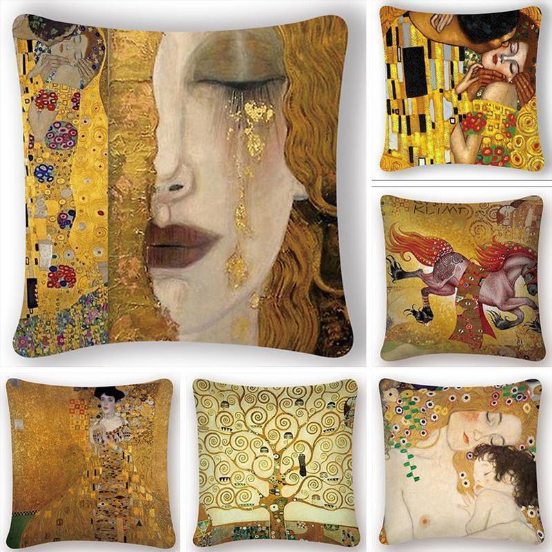 5pcs / lot pintura a óleo Cushion Pattern Tampa ouro impressão fronha decorativa Vintage fronha Sofá Chair fronha
