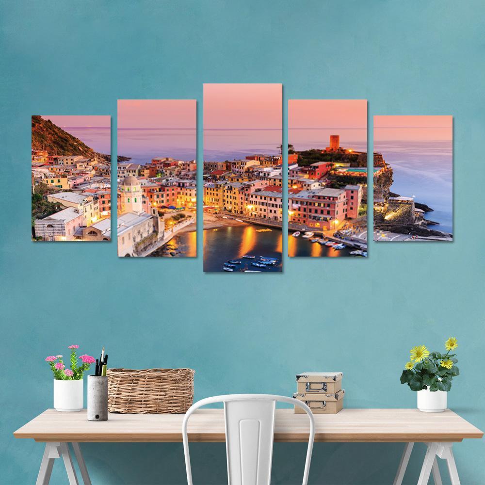 5pcs/set 3D Italy Cinque Terre Color House Combination Wall Stickers Home Decor Living Room Bedroom Poster DIY PVC Sea Art Mural