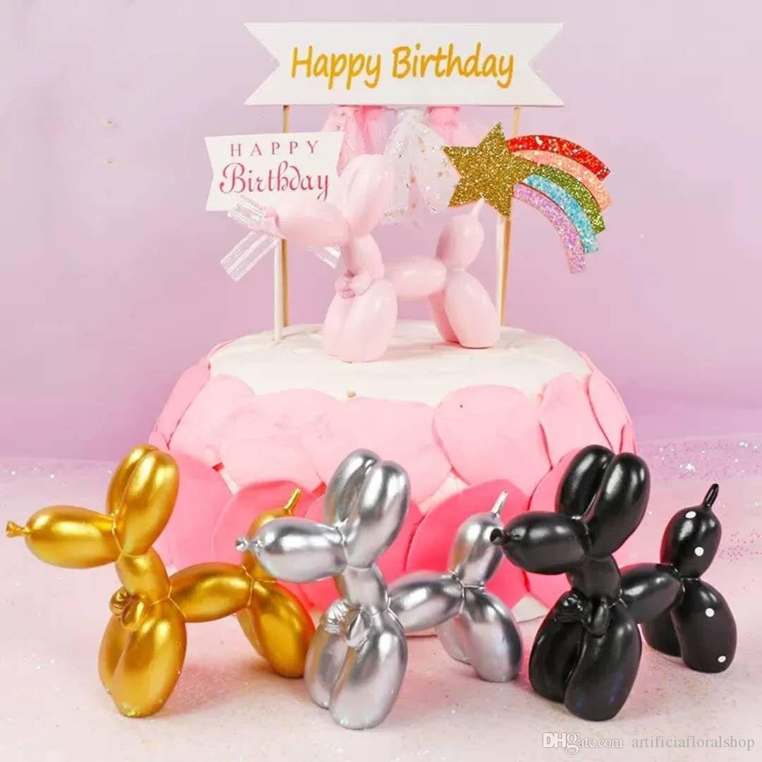 Surprising Balloon Dog Birthday Cake Accessory Baking Resin Decor Girls Personalised Birthday Cards Veneteletsinfo