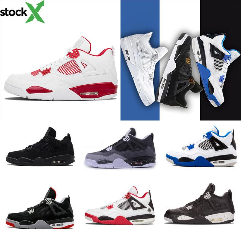 ventas calientes zapatos de baloncesto 4 MIEDO PAQUETE Blanco Negro sigilo Oreo Toro Bravo cemento gris tamaño fashione baloncesto de los zapatos 8-13